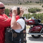 David Heredia hugs Debbie Bouffard at the Black Dragon Canyon in Utah on Monday, August 14, 2017. Photo by Clay Lomneth / The American Legion.