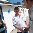 Lance McNeil greets Legion Riders as they arrive at Post 16 in Fallon, Nev. on Wednesday, August 16, 2017. Photo by Clay Lomneth / The American Legion.