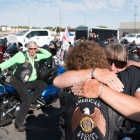 Diana Reeder hugs Debbie Bouffard before the start of the Legacy Run in Fallon, Nev. on Thursday, August 17, 2017. Photo by Clay Lomneth / The American Legion.