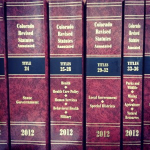 2012 Colorado Revised Statutes/Photo by Ashley Zimmerman