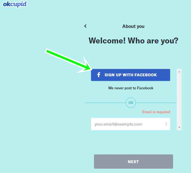 OkCupid Sign Up With Facebook Account