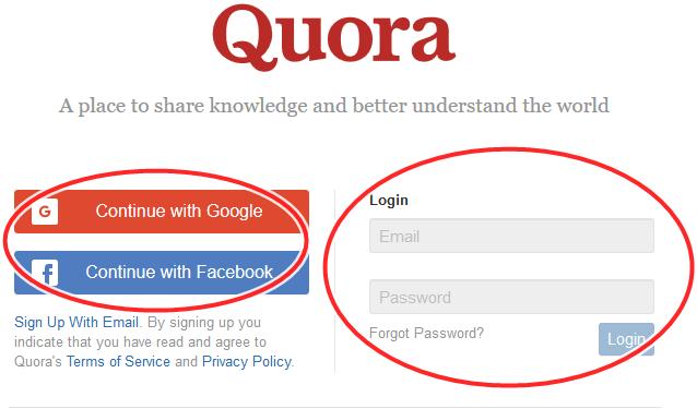 Quora.com Sign In Portal | Quora Login With Facebook Or Google