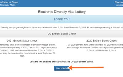 DV 2020/2021 Entrant Status Check, Free DV 2021 Application Lottery