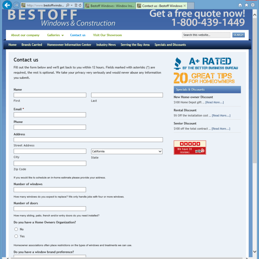 Bestoff Windows Contact Us Page
