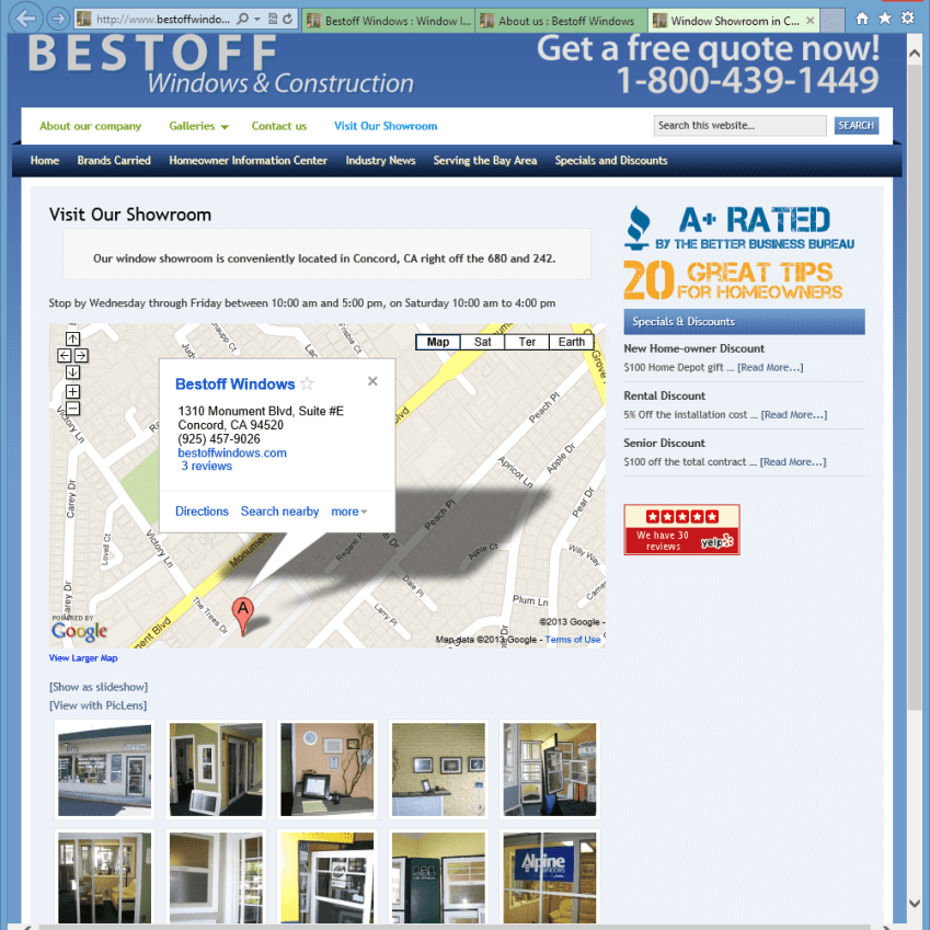 Bestoff Windows Showroom Page