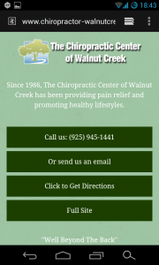 Mobile Website for Chiropractic Center of Walnut Creek