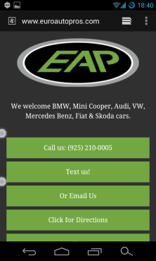 Mobile Website for Euro AutoPros
