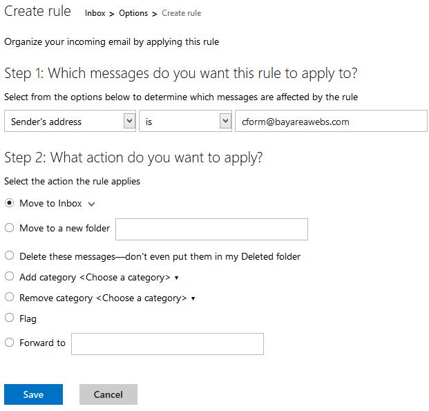 Outlook Custom Rule