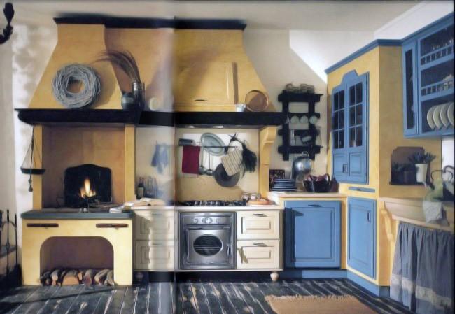 Cucina stile classico su misura in legno laccato bicolore
