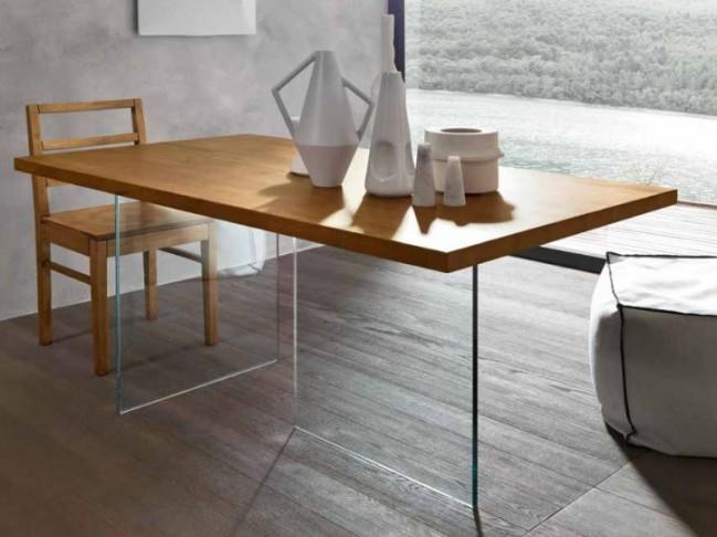 Tavolo Moderno in legno Massello Con struttura in Vetro