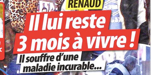 Renaud victime d'une maladie secrète ? il lui reste trois mois à vivre (photo)