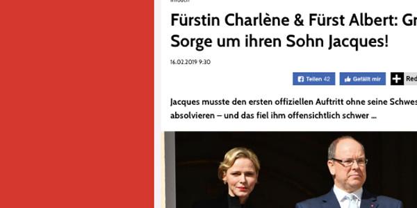 Charlène et Albert de Monaco,  grande angoisse pour leur fils Jacques (photo)