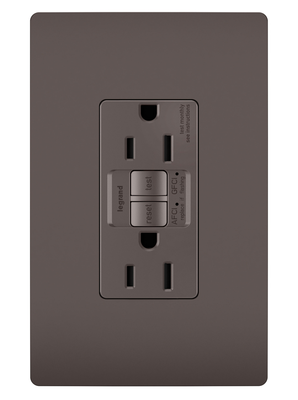 hight resolution of radiant dual function tamper resistant afci gfci receptacle brown legrand