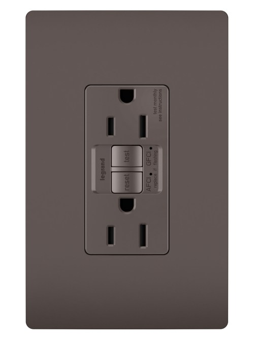small resolution of radiant dual function tamper resistant afci gfci receptacle brown legrand