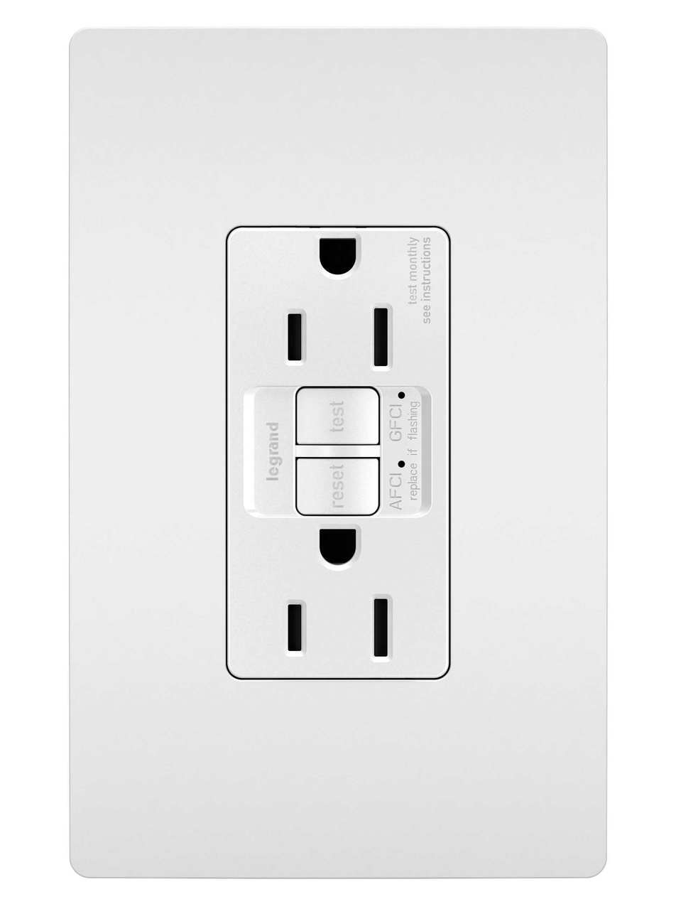 gfci outlet with switch wiring diagram 3 phase two speed motor outlets by legrand dual function tamper resistant 15a afci receptacle white