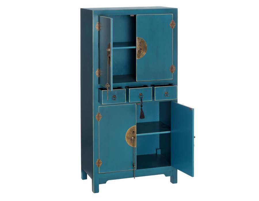 Armoire Bleue Style Chinois Pour Une Chambre