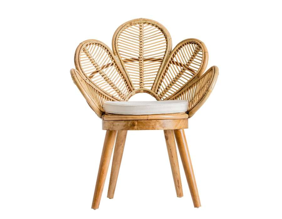 fauteuil rotin naturel fleur