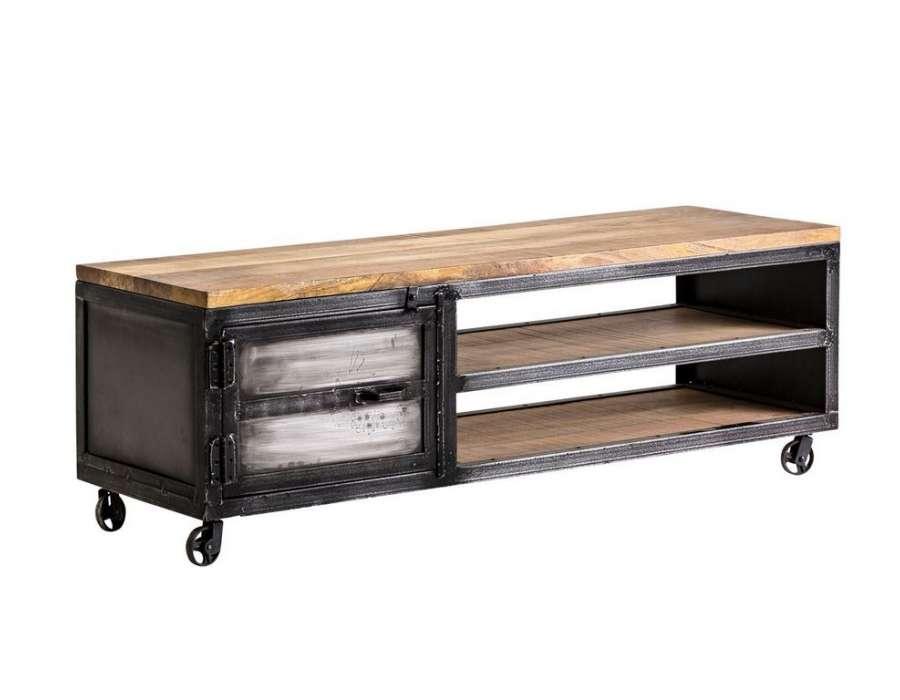 meuble tv metal noir industriel sur roues 160 cm