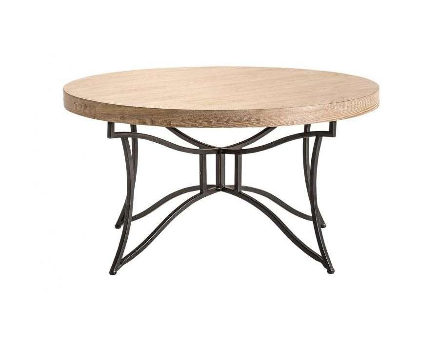 table basse ronde bois et metal chic