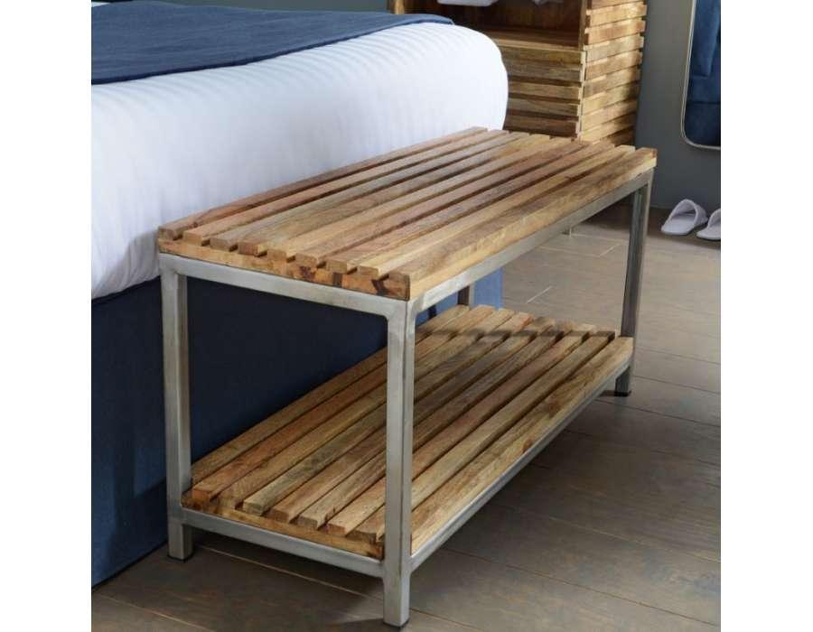bout de lit bois et metal contemporain