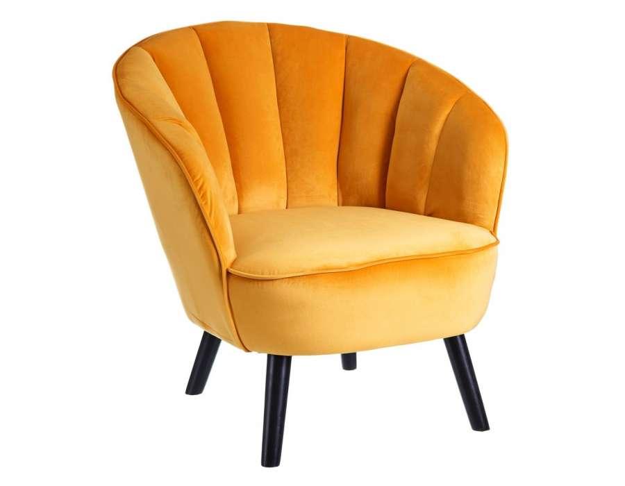 fauteuil jaune fleurs velours