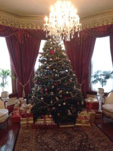 Brenda Grant's Christmas tree in her beautiful sitting room evokes a lovely Victorian scene.