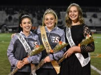 Skyridge homecoming royalty. Left to right: 2nd attendant Alex Chilcote, Homecoming Queen Cecilee Trane, 1st attendant Alice Ellsworth. Taken by Matt Paepke.