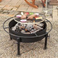 Amish-Made Fire Pit with Grill Attachment, Grilling - Old ...