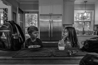Sibling rivalry at the breakfast table, Greensboro, NC