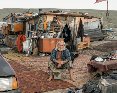 Yuri lives with his 15 dogs in a small hut, not far from the banks of the river