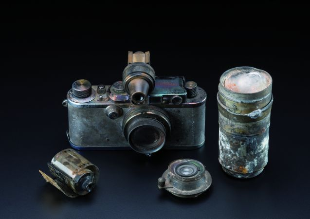 Leica III equipment, partially burnt during the crash of the Hindenburg in Lakehurst, 1937