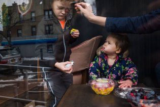 Mom accidentally stabs kid in the eye with a berry, Brooklyn, NY