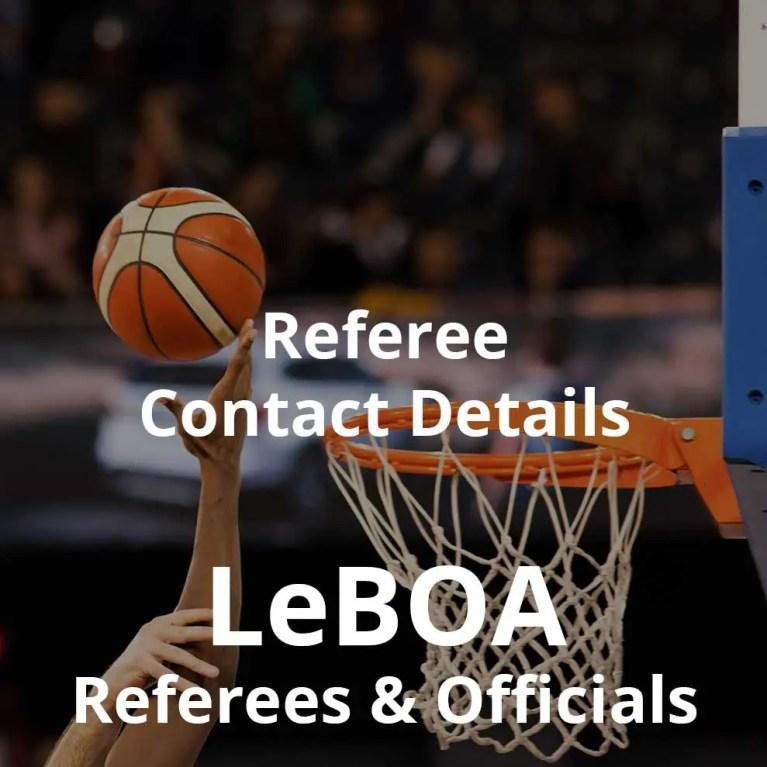 LeBOA Referee Contact Details