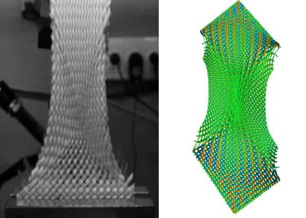 Links: Ermittlung des kritischen Schwerwinkels eines Gewebetextils. Versuch durchgeführt beim ITA. Rechts: Simulation des gleichen Versuchs mit beginnender Falte mit TexMath (Quelle: Fraunhofer ITWM)