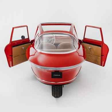 Die Optik des an allen drei Rädern angetriebenen Fahrzeugs erinnert stark an eine Isetta.