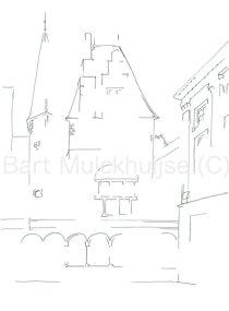 Tekening van het Gravensteen te Leiden