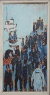 Hvalslagtning, kutter i baggrund, 47x30 cm