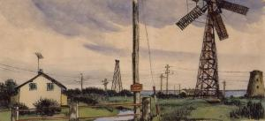Inspektørboligen på Lille Vrøj, 1959. Tusch og akvarel