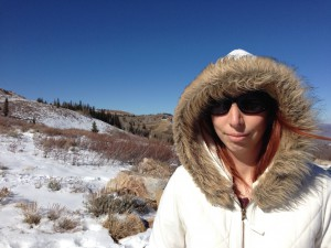 Gina near the Utah mountain  peak just beyond Park City. Approx. altitude: 10,000 ft.