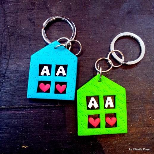 Portachiavi casette personalizzato con iniziali - le INsolite Cose (1)