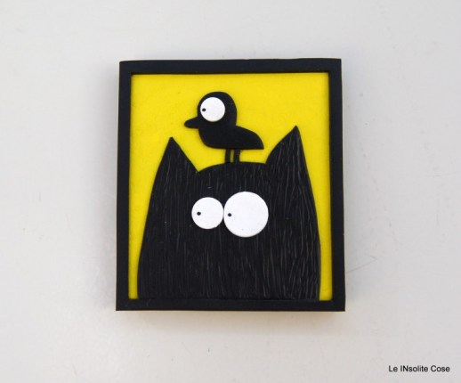 Calamite Gatto nero con Uccellino in testa- Le INsolite Cose (5)
