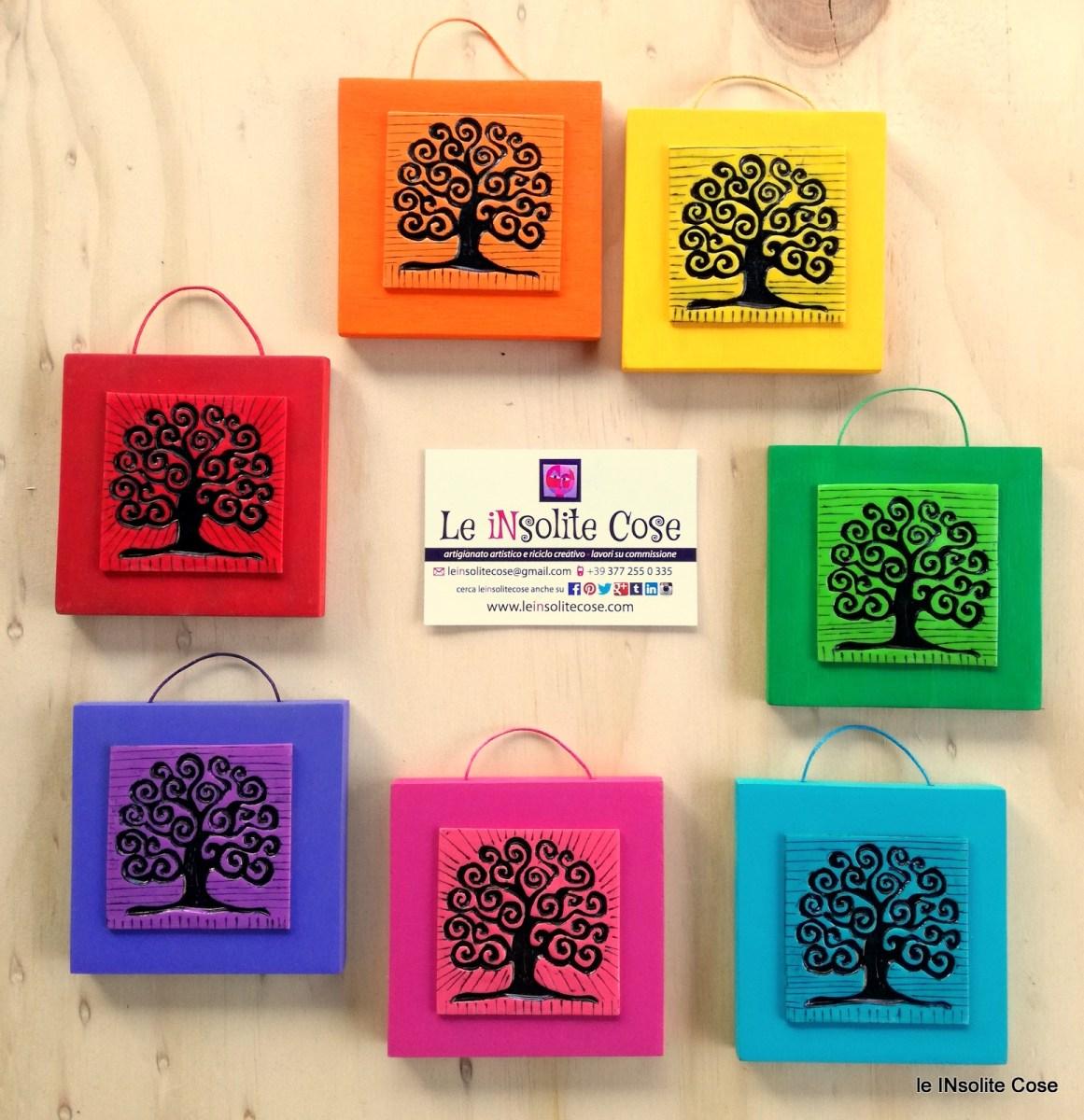 Tavolette quadrate Albero della Vita colori dell'Arcobaleno. Idea per bomboniere