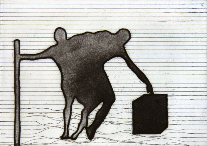 2015 Ute Haring, Predicament, Reservage/Aquatinta