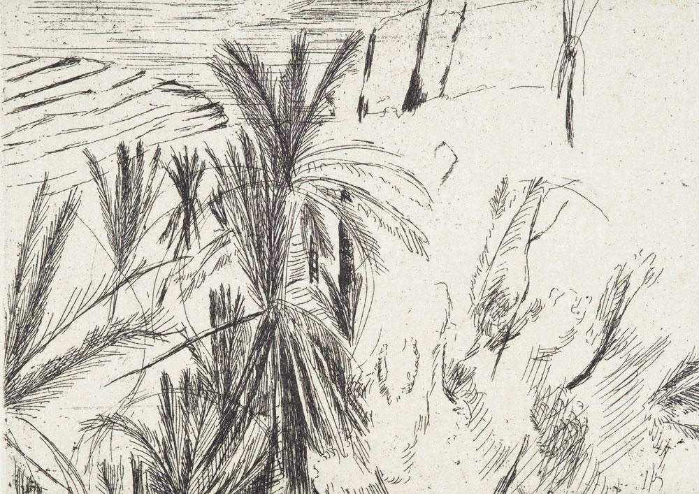 """Yvette Kießling, aus der Kassette """"Marokko – Tizi-n-Test"""", 6 Blätter, 2016, Strichätzung (Radierung) und Chincolleé, 29 x 42 cm"""