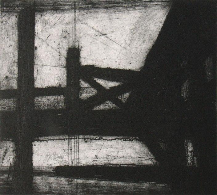 Eberhard Klauß, Brücke, 2012, Ätzung/Kaltnadel, 23,5 x 26 cm