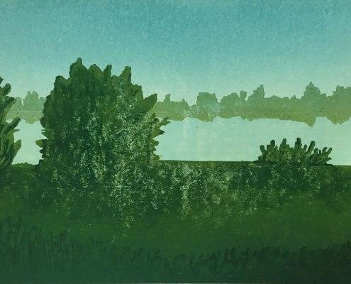 Franziska Neubert, Die Umschreibung des Flusses, 2016, Holzschnitt, 30 x 45 cm