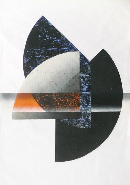Susanne Werdin, 4 + 2 x 6 Sechzehntel mit Horizontale und Orange, 2016, Farbholzschnitt, 100 x 70 cm