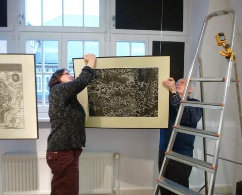 Aufbau der 34. Leipziger Grafikbörse im Museum für Druckkunst Leipzig