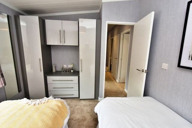 2019 Omar Alderney holiday lodge twin bedroom
