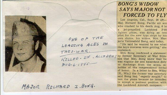 Richard Ira Bong signed commemorative envelope
